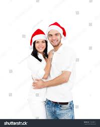 christmas holiday happy couple wear red stock photo 119498911