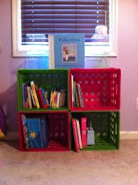 hannah u0027s 10 bookcase 4 plastic crates from walmart zip ties