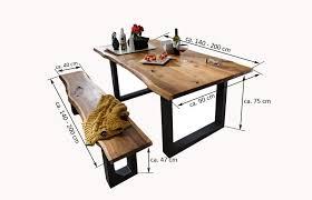 Esszimmerbank Akazie Sam Essgruppe 6tlg Tisch Auswahl 140 200 Cm Und Stuhl
