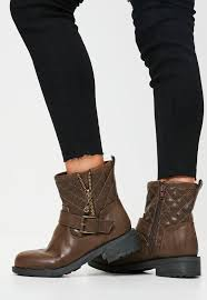 flat biker boots brown buckle zip biker boots missguided