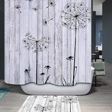 concise dandelion waterproof polyester bathroom shower curtain