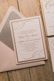 blush and gold wedding invitations real wedding kelsey and matthew blush and gold glitter panel