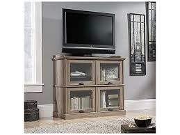 corner tv stand with glass doors furniture elegant black sauder tv stand made of wood with glass