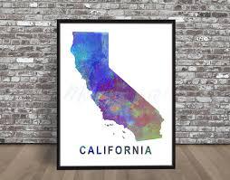 san francisco map painting california state map watercolor styled print rainbow ca cali