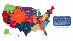 what nfl team has the most fans nationwide nfl facebook fandom map 2014 vikings borders hold steady twin