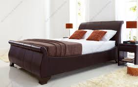 King Size Leather Bed Frame Kaydian Bamburgh Brown Matt Leather Bed King Size Or