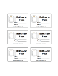 bathroom pass ideas a sheet of six illustrated bathroom passes with room for the