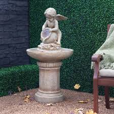 Outdoor Water Fountains With Lights Have To Have It Joyful Cherub Bird Bath Fountain With Lights