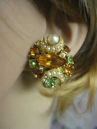 bergere earrings vintage bergere earrings pearl rhinestone 1970