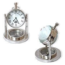 Nautical Desk Clock Amazon Com Vintage Mini Table Clock And Compass Chrome Nautical