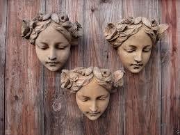 Garden Wall Plaque by Art Nouveau Female Face Decorative Wall Plaque Stone Home Garden