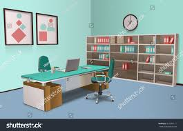 Boss Reception Desk by Realistic Room Office Big Boss Computer Stock Vector 351656111