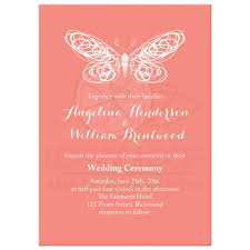Butterfly Invitations Wedding Invitation Coral Butterfly