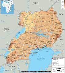 Physical Maps Physical Map Of Uganda Ezilon Maps