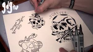 how to paint tattoo flash with markers old skull and