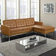 Modern Leather Sofa Living Room Brown Sectional Leather Sofa Grey Rug White Coffee