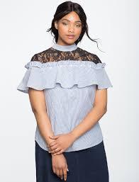frilly blouse lace yoke ruffle blouse s plus size tops eloquii