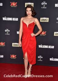 lauren cohan short red party dress walking dead season 5 premiere