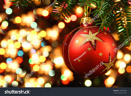 ornaments on tree stock photo 154974956