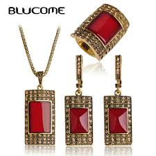 necklace vintage jewelry images Blucome vintage jewelry sets antique gold color square red pendant jpg
