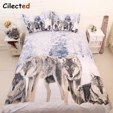 Wolf Bedding Set Cilected 3d Cool Snow Wolf Bedding Sets 3pcs 100 Polyester Animal