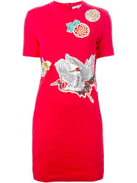 carven crane bird print dress in red lyst