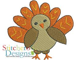 small turkey filled embroidery set by stitcheroo designs