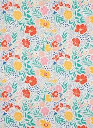 Light Cotton Fabric Off White U0027lore U0027 Colorful Flower Dot Cloud 9 Organic Cotton Fabric