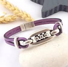 bracelet patterns leather images Purple leather man or woman bracelet tutorial kit ethnic silver jpg