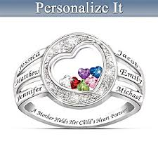 birthstone rings a holds childs heart personalized name engraved and