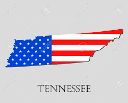 Map Of Tennesse Map Of The State Of Tennessee And American Flag Illustration