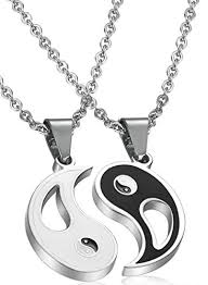 stainless steel puzzle necklace images Fibo steel 2pcs stainless steel yin yang pendant necklace for men jpg