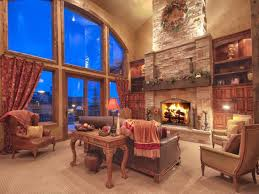 rustic living room with carpet u0026 stone fireplace zillow digs