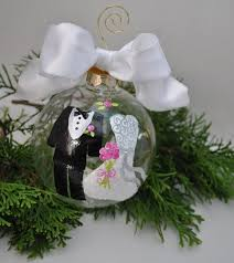 hand painted glass ornament bride groom by thetoasthostess on etsy