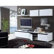 Meuble Tv Longueur Maison Et Mobilier D Intérieur Aura Ensemble Séjour Contemporain Laqué Blanc Brillant L 200 Cm