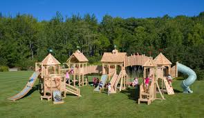 exterior wood outdoor playsets with wood playhouse and playground