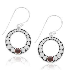 garnet earrings sterling siver graduated open garnet earrings