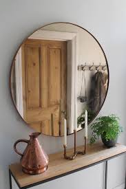 Home Interiors Mirrors Hallway Furniture Copper Mirror Over Steel And Oak Console Table