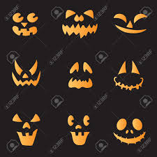 scary faces of halloween pumpkin vector royalty free cliparts