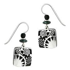 pierced earrings adajio black square with silver overlay pierced earrings