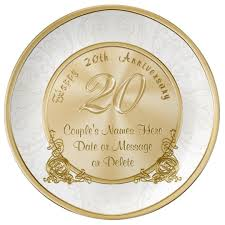 personalized plate happy 20th anniversary gifts personalized plate zazzle