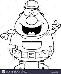 a happy cartoon handyman with an idea stock vector art