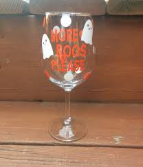spooky halloween wine glass set black and white trees design scary