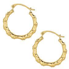 10k earrings 10k yellow gold bamboo hoop earrings ebay