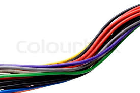 a jumble of multi colored wires from a car stock photo colourbox