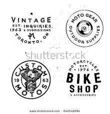 retro badges templates motorcycles repair workshops stock vector