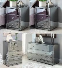 Mirrored Bedside Tables Vegas Smoke Mirrored Bedside Tables Dresser U0026amp Tallboy Package
