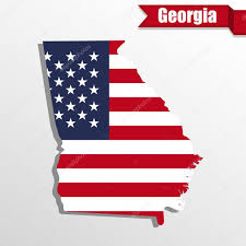Georgia State Map Georgia State Map With Us Flag Inside And Ribbon U2014 Stock Vector