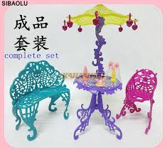 monster high table and chair set 5pcs fashion doll living furniture couch table sun umbrella chairs