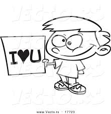 vector of a cartoon boy holding an i love you sign coloring page